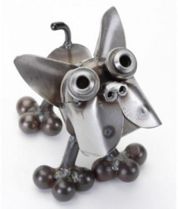 Metal Boston Terrier Dog Sculpture #D130