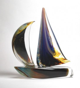 Calcedonia Glass Sailboat