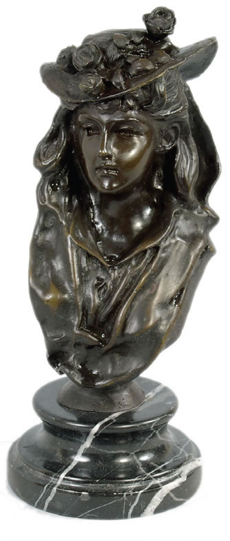 Woman With Flowered Hat- Bronze Bust/Statue