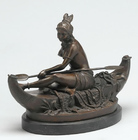 Bronze Indian Maiden in Boat