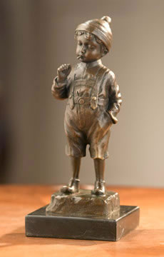 Young Boy With Whistle- Bronze Statue