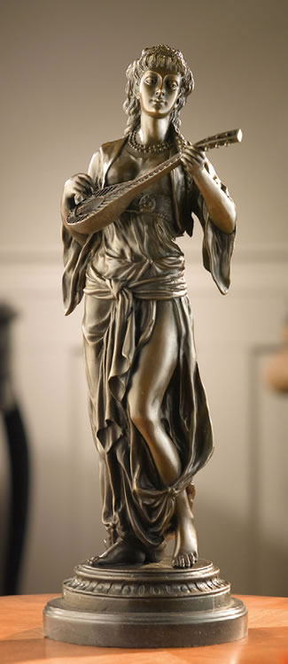 Woman Playing Mandolute- Bronze Sculpture