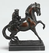 Monkey Riding Horse Bronze Statue