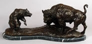 Fighting Buffalo and Bear Bronze Statue