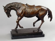 Bronze Horse Statue, Marble Base