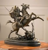 Warrior Killing Lion Bronze Sculpture