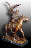 Falconer on Horseback Bronze Sculpture
