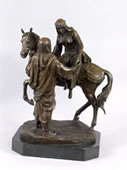 Arabian Couple With Horse- Bronze Statue