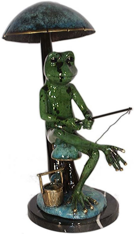 Bronze Fishing Frog Statue- Color