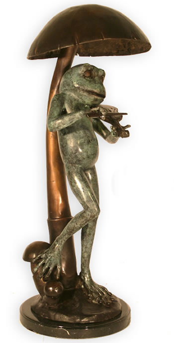 Bronze Musical Frog with Violin Statue
