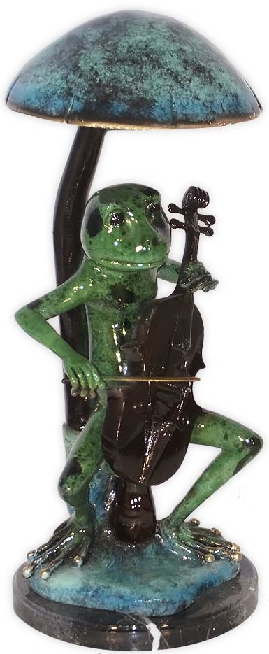 Bronze Musical Frog with Violin Statue (Color)