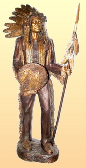 Indian Chief with Shield and Spear Sculpture