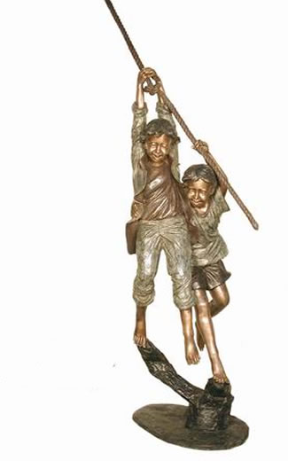 Two Kids Hanging on Rope