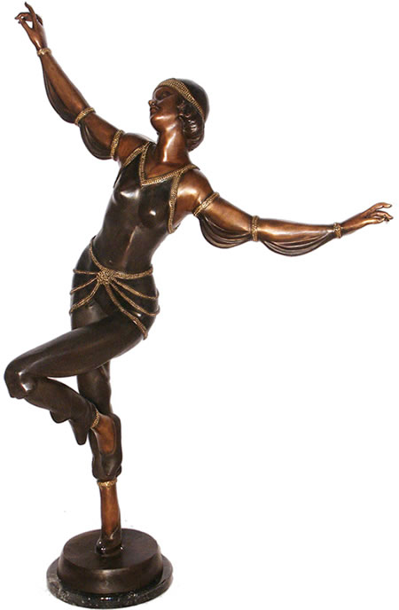 Bronze Deco Dancer Sculpture- 54 Inch