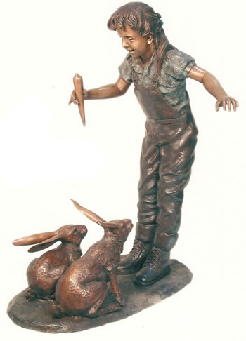 Bronze Girl Feeding Rabbits Statue