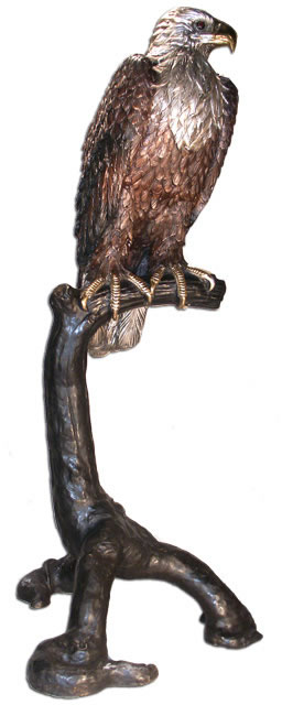 Bronze Eagle on Branch Sculpture