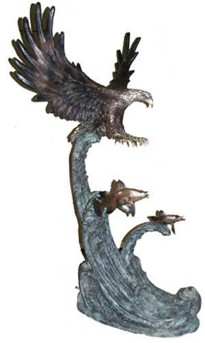 Eagle Catching Fish Bronze Sculpture