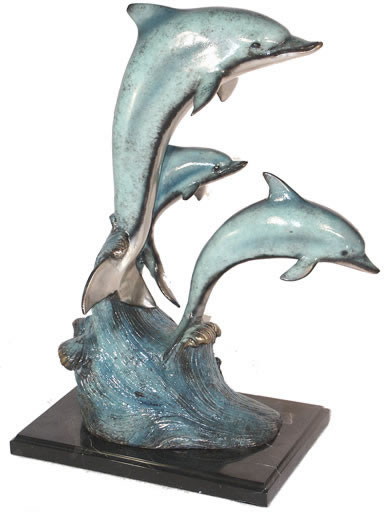 Three Dolphins Statue- Bronze on Marble Base