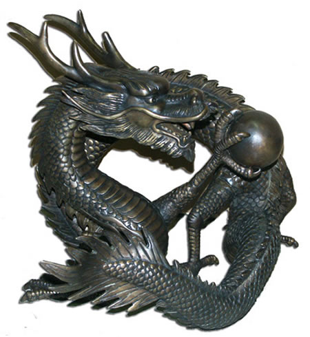 Chinese Dragon Bronze Statue