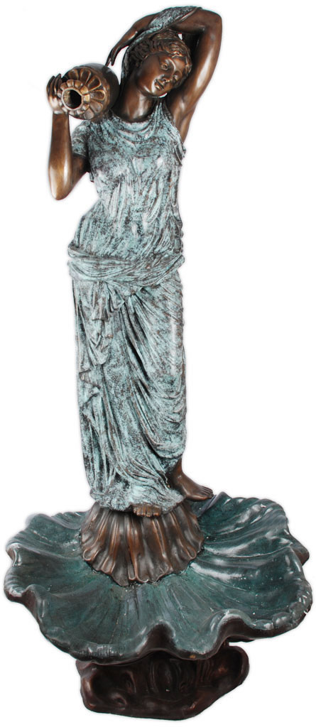 Lady on Shell Bronze Fountain, 64 Inch