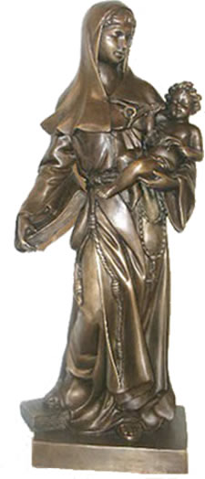 Virgin Mary with Child- Bronze Statue