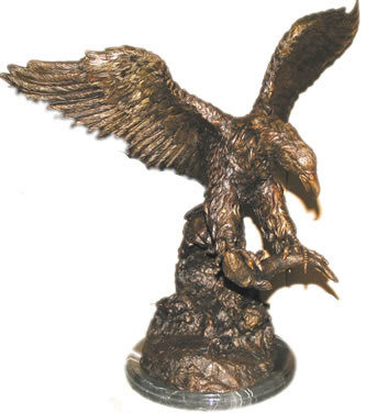 Bronze Eagle Catching Fish Sculpture