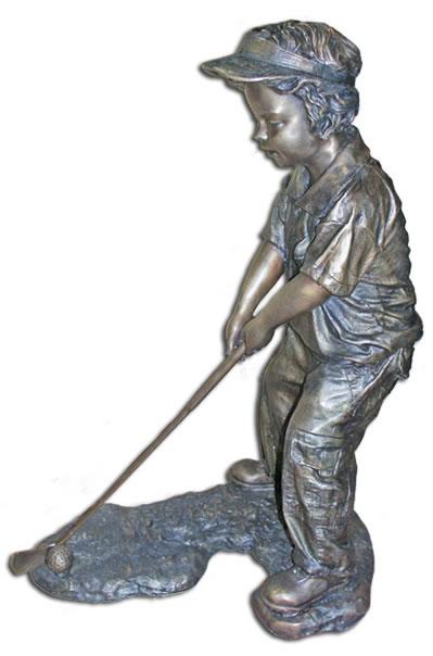 Bronze Boy Golfer Statue, Outdoor Golf Statues