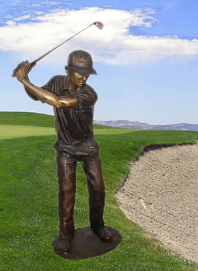 Bronze Swinging Golfer Sculpture Extra Large Bronze