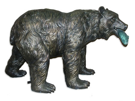 Bronze Bear with Salmon Fountain