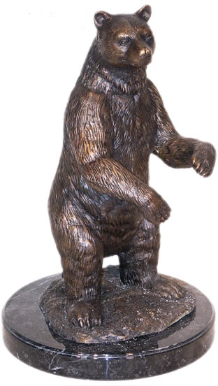 Bronze Standing Bear Statue on Marble Base