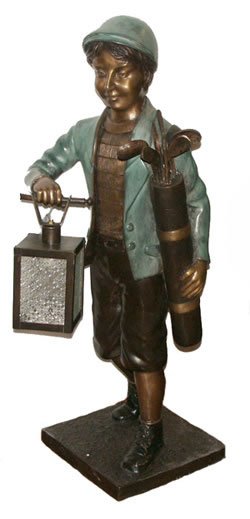 Boy Golfer Statue With Lantern Bronze Jbl017