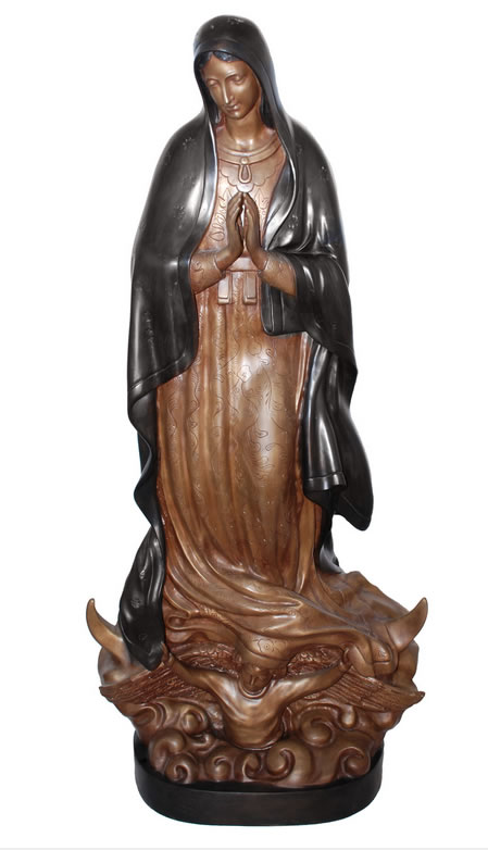 Bronze Lady Guadalupe Sculpture, 65 Inch