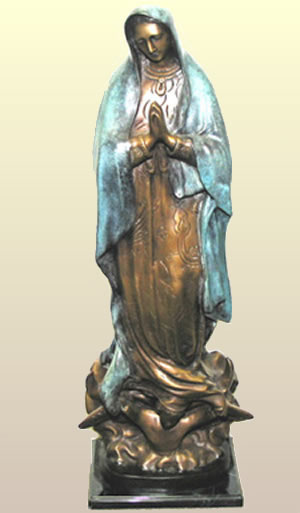Bronze Lady Guadalupe Sculpture, 29 Inch