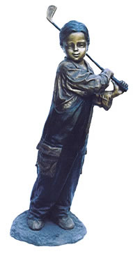 Young Boy Golfer Statue in Bronze