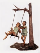 Boy & Girl Playing Swing