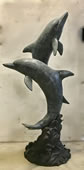 Two Dolphins Sculpture in Bronze