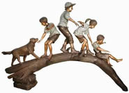 Four Kids with Dog Playing on Log