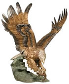 Bronze Eagle With Fish Sculpture