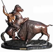 Buffalo Hunt- Bronze Sculpture