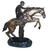 Bronze Equestrian Horse and Jockey