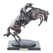 Bronze Bronco Buster Statue 17 Inch