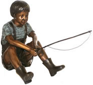 Bronze Boy Fishing Sculpture