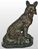 Sitting Fox Bronze Statue