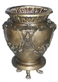 Bronze Footed Urn with Face