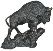 Climbing Buffalo- Bronze Sculpture, Large