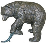 Bear with Salmon Bronze Sculpture