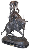 Buffalo Jump Bronze Sculpture