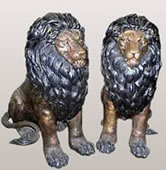 Bronze Entrance Lions- Pair
