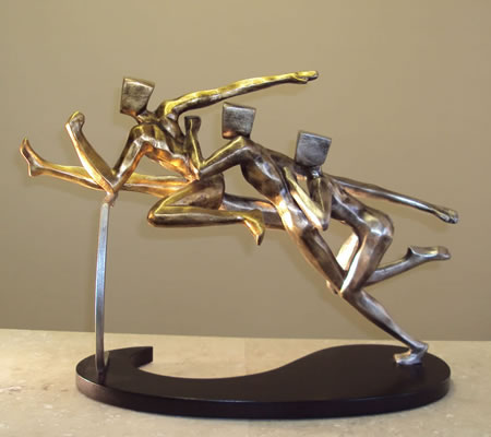 Hurdling Runners Modern Sculpture