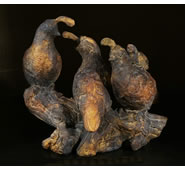 Three Quails and a Baby Sculpture by Attila